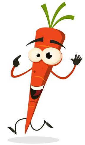 Caricatura, feliz, cenoura, personagem, executando