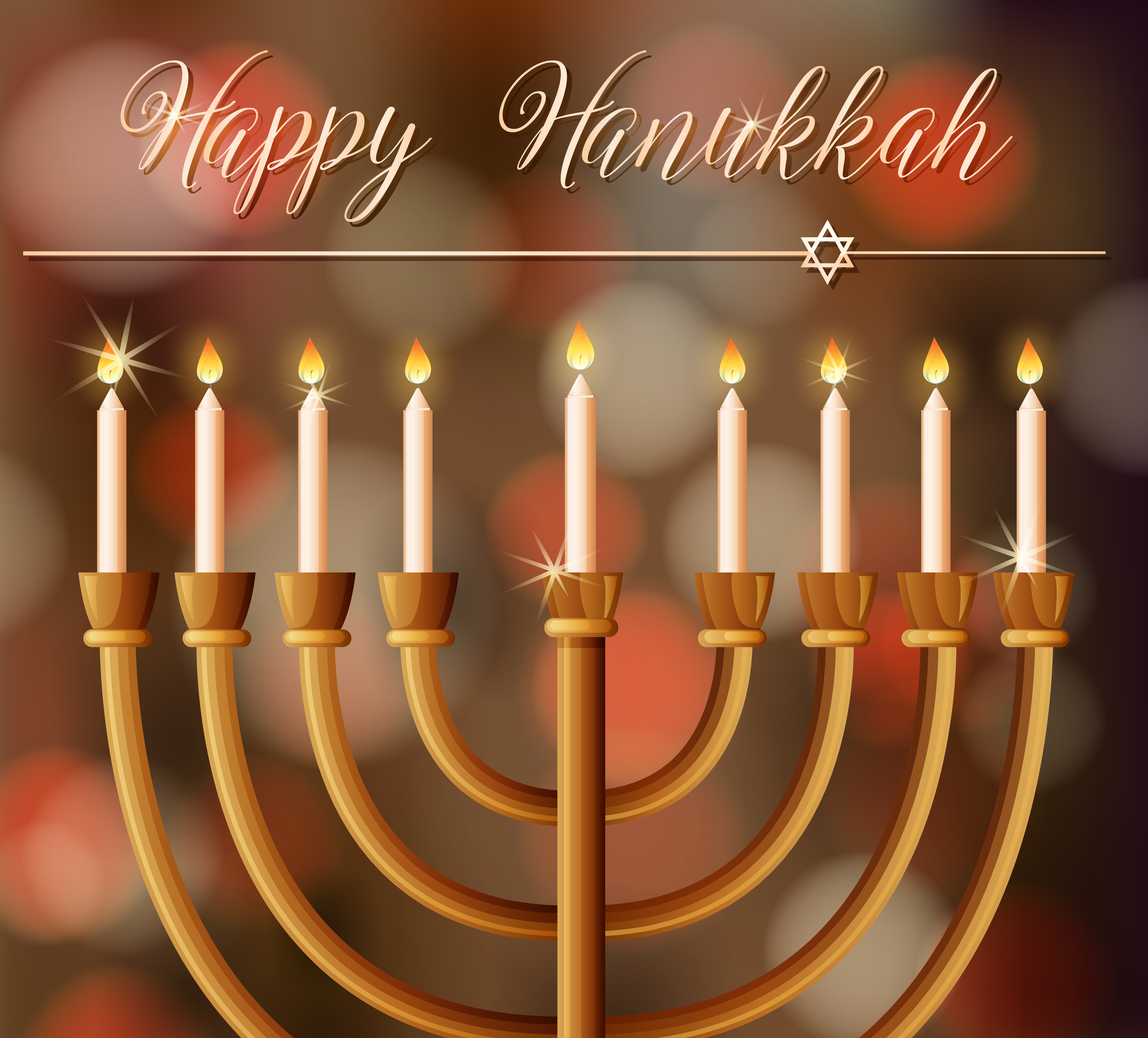 Happy Hanukkah Card Template With Candlelights