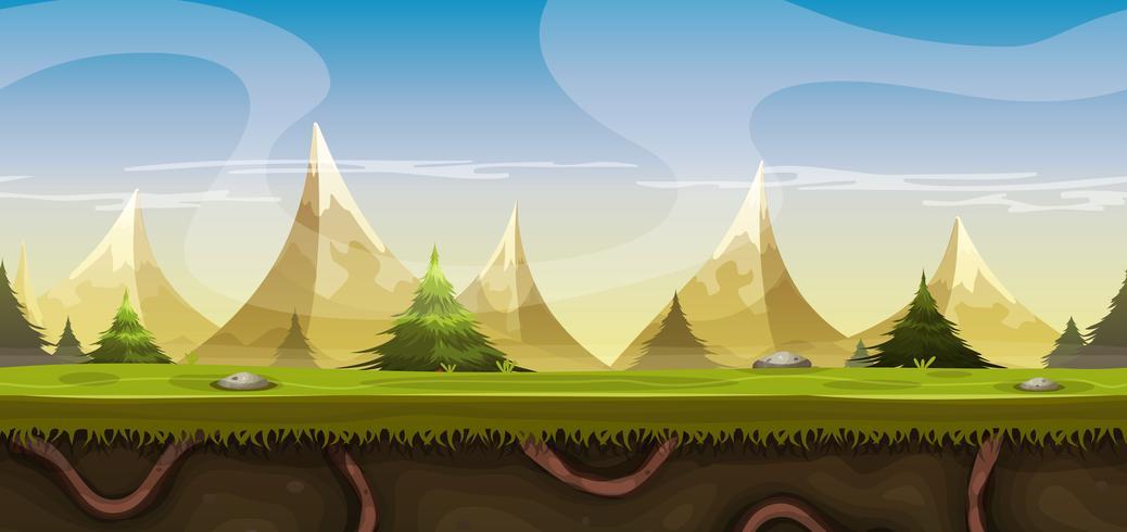 Paisaje de montañas sin fisuras para juego Ui vector