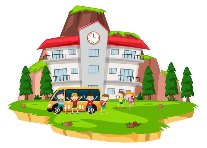 Crianças, tocando, em, escola, gramado