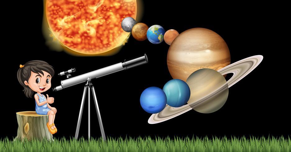 Menina com telescópio aprendendo sistema solar