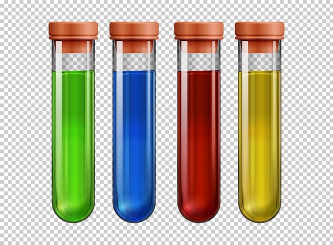 Quatre tubes à essai remplis de liquide coloré