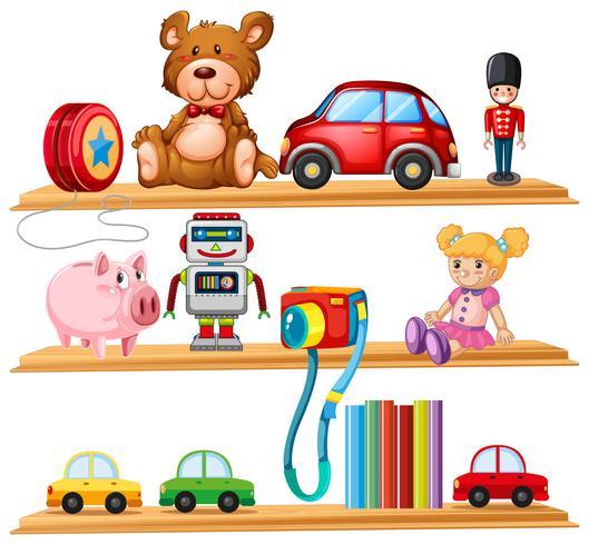 Viele Spielsachen und Bücher auf Holzregalen