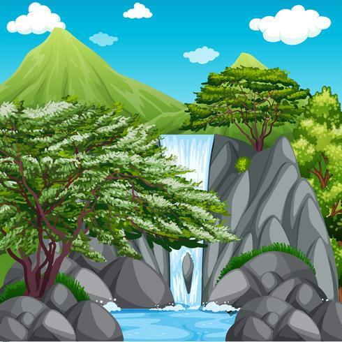 Aardscène met waterval in bergen