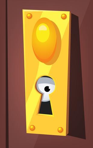 Olho espiando por trás do buraco da fechadura vetor