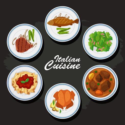 Fondo de cocina italiana con diferente comida en los platos.
