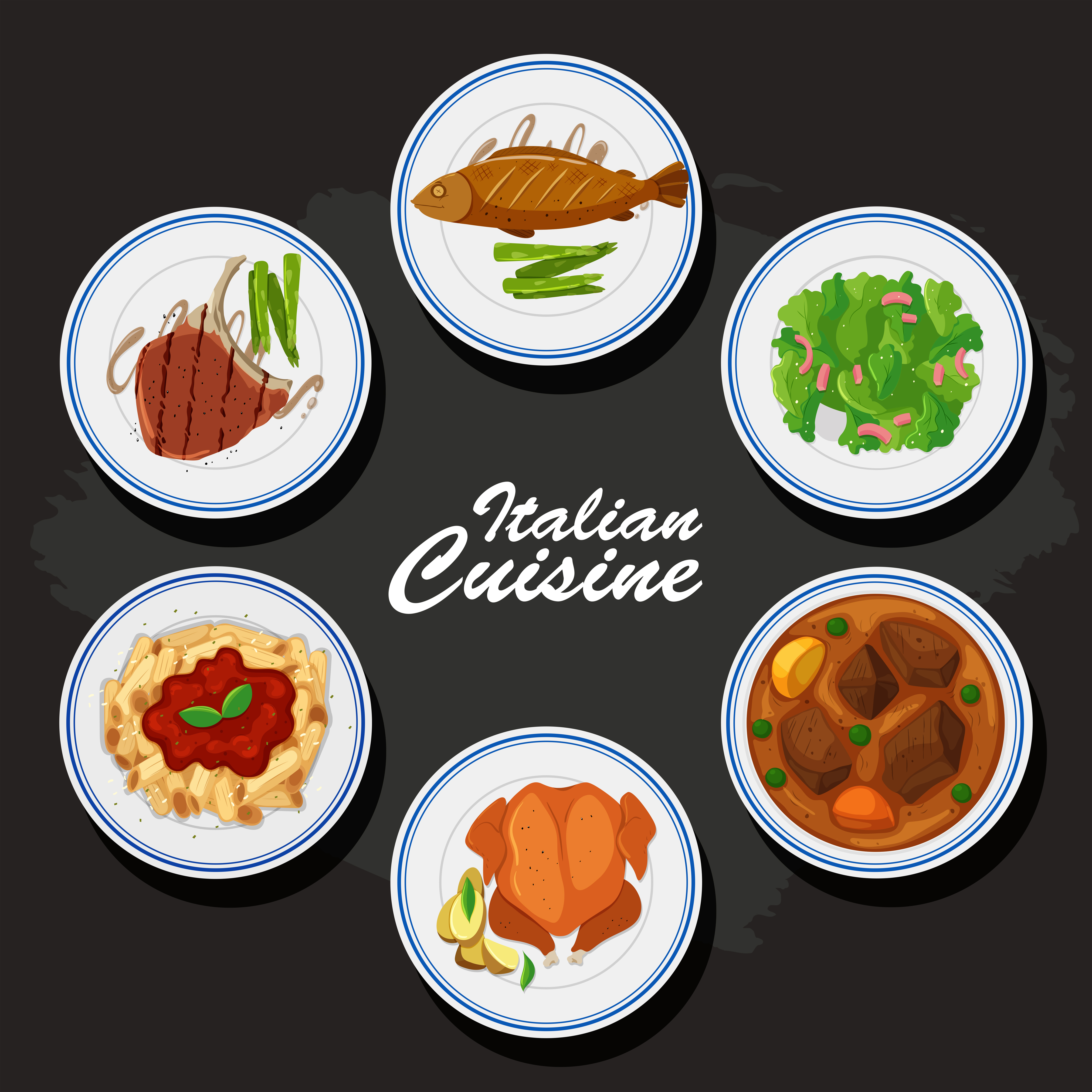italian cuisine background with different food on the