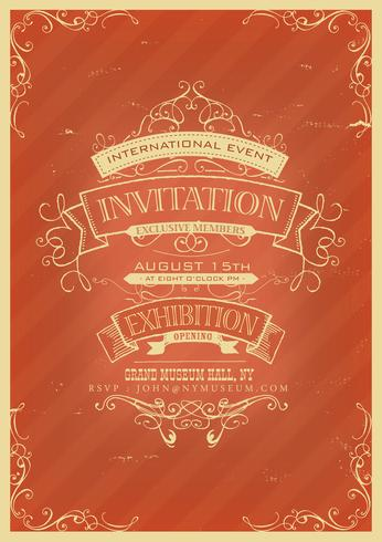 Fond d'invitation rouge rétro vecteur