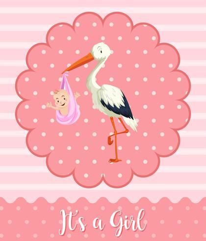 Bebê de cegonha no fundo rosa