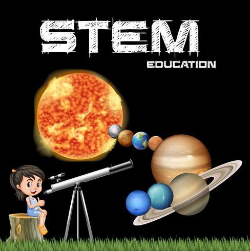 Design de cartaz de educação de haste com menina e sistema solar