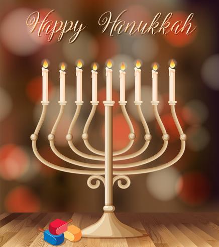 Modelo de cartão feliz Hanukkah com castiçal com luzes