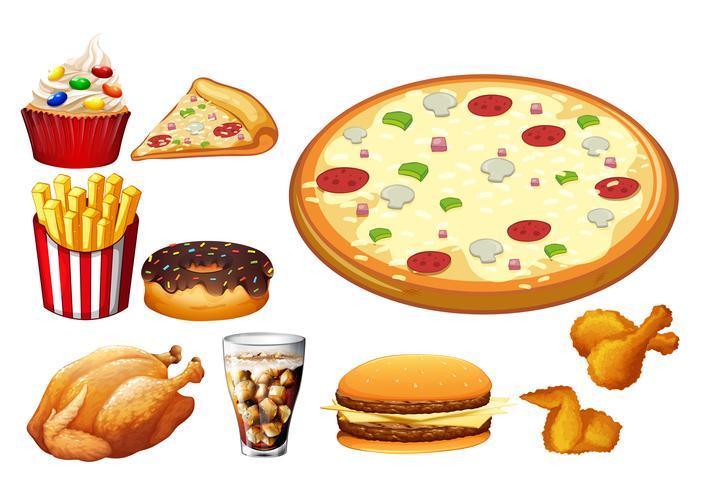 Diferentes tipos de comida rápida.