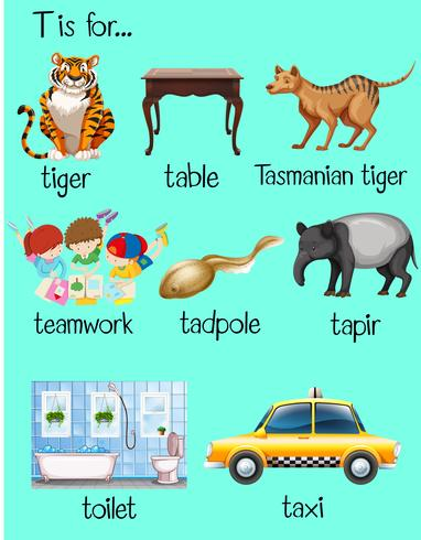 Many words begin with letter T