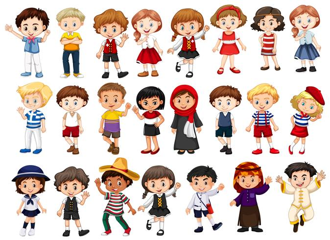 Personagens diferentes de meninos e meninas
