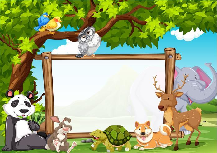 Plantilla de tablero con animales salvajes en zoológico vector