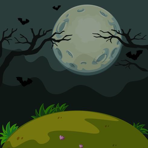 Hintergrundszene mit furchtsamer Nacht auf Vollmond