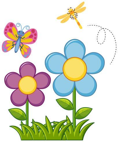 Vlinder en libel in bloemtuin
