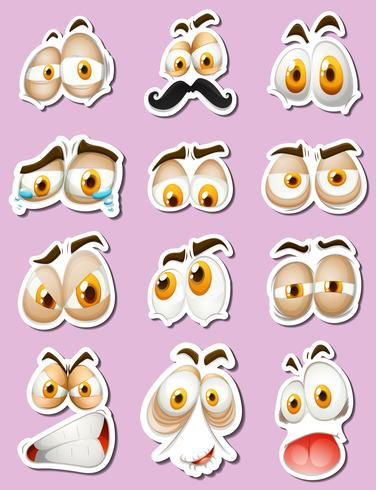 Stickerontwerp met gezichtsuitdrukkingen