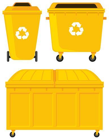 Trashcans en tres diseños diferentes.