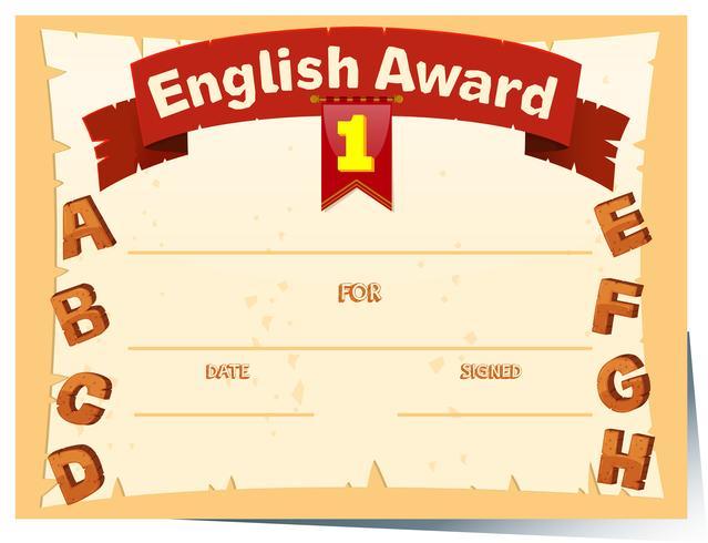 Modèle de certificat avec récompense en anglais
