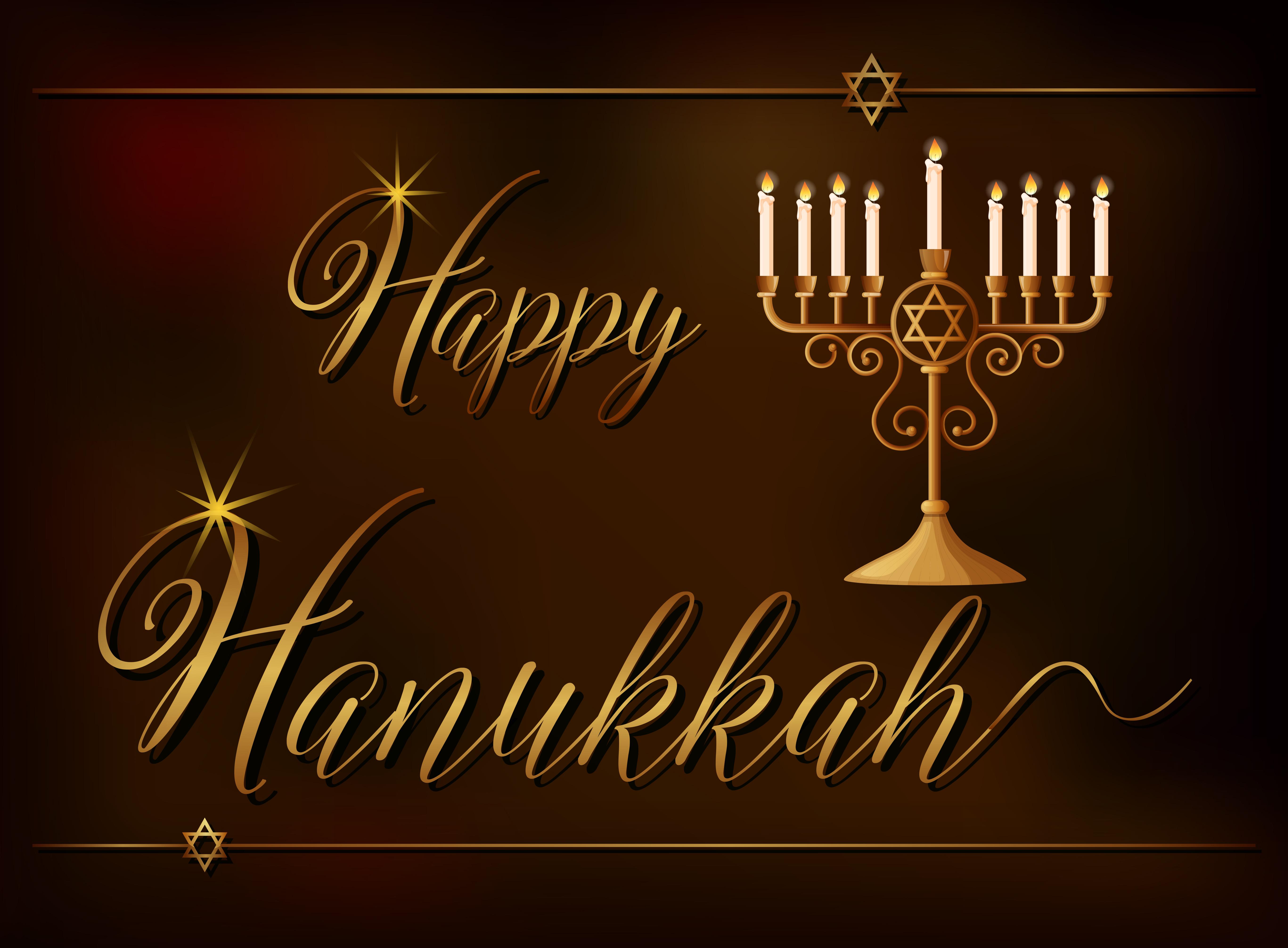mod u00e8le de carte happy hanukkah avec lumi u00e8re et symbole d