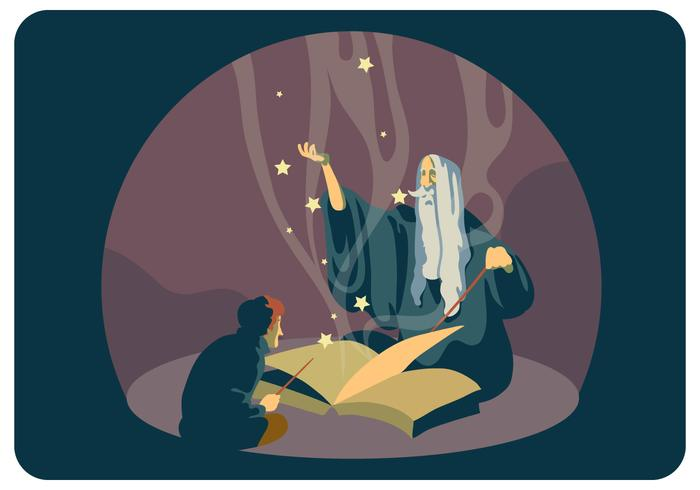 Student and Wizard Old Master vector