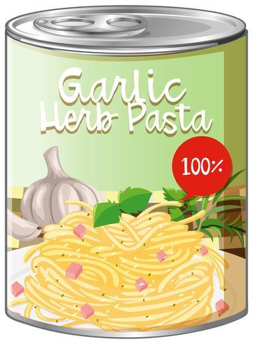Garlic herb pasta in aluminum can