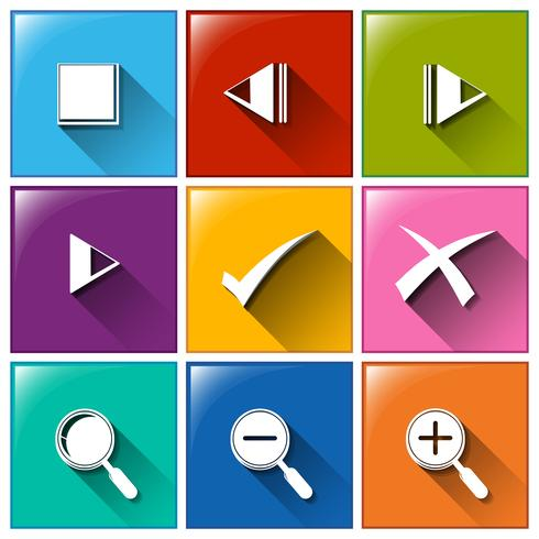Icons mit verschiedenen Symbolen