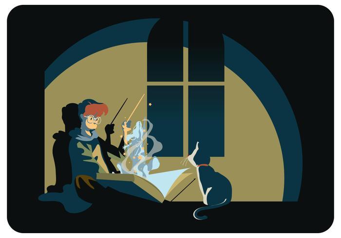 Wizard School Student and His Cat Vector