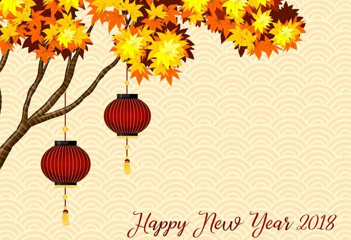 Modello di carta felice anno nuovo con lanterne rosse sull'albero