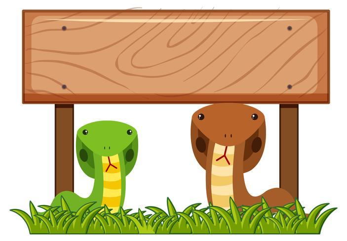 Plantilla de cartel de madera con dos serpientes debajo