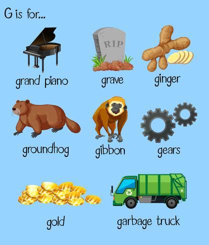Muitas palavras para o alfabeto G