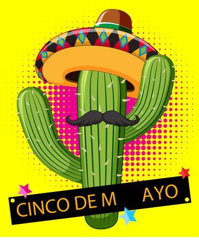 Cactus che porta cappello messicano su fondo giallo