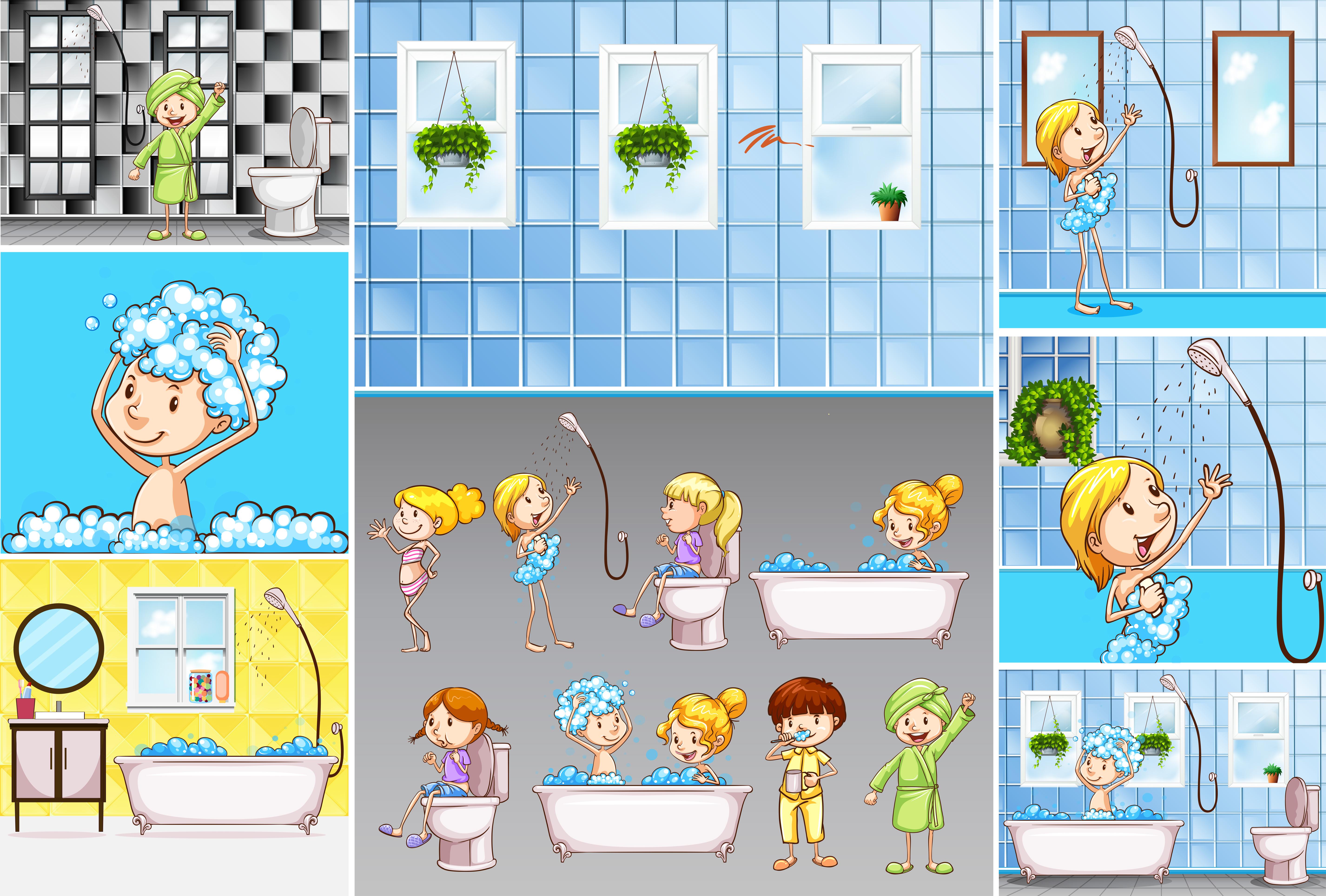 Bathroom scenes with kids doing different activities ...