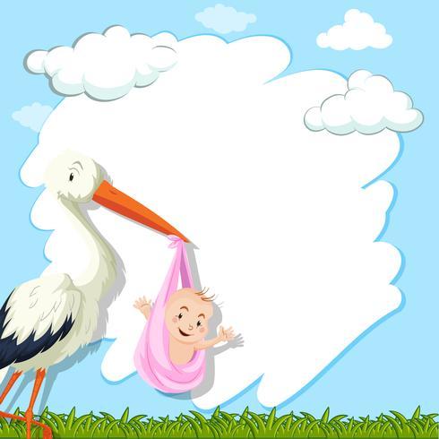 Modello di confine con uccello e bambino nel parco