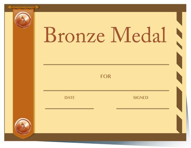 Modelo de certificado com medalha de bronze