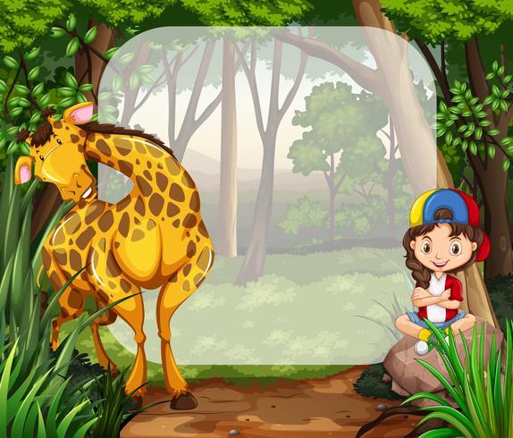 Menina e girafa na floresta