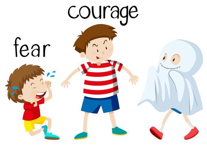 Gegenüberliegende Wordcard für Angst und Mut