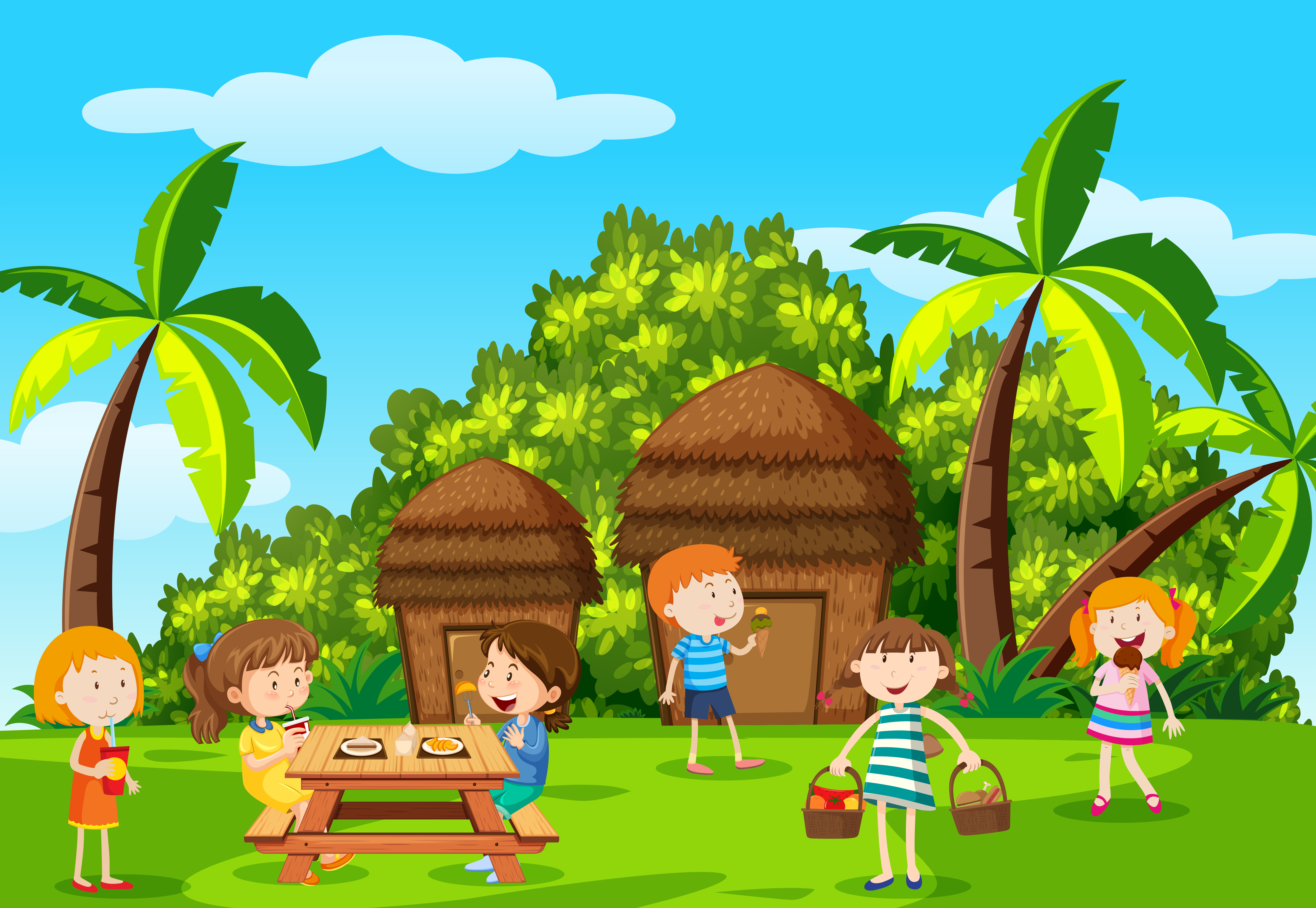 Childre picnic in the park - Download Free Vector Art ...
