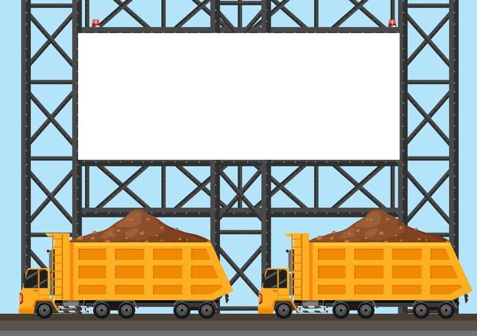 Grens sjabloon met twee vrachtwagen vrachtwagens