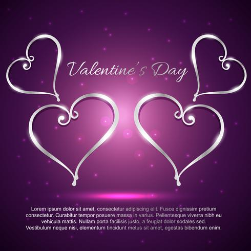 dia dos namorados lindos corações em fundo roxo