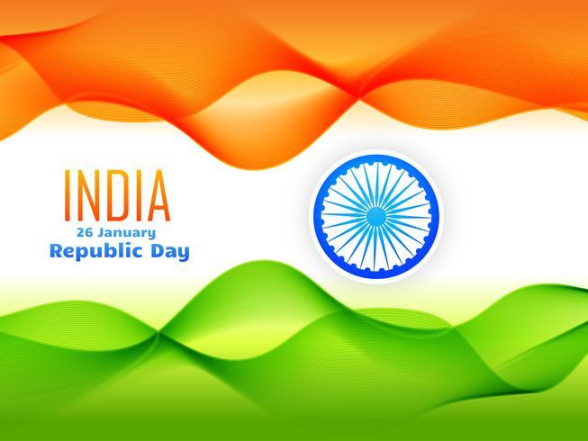 Diseño de la bandera del día de la república india hecho con onda tricolor