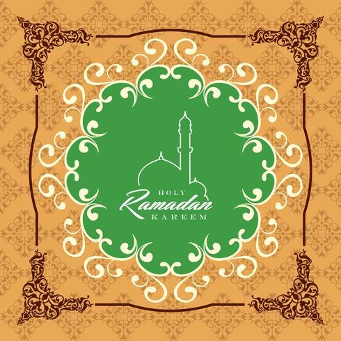 Ramadan Kareem Greeting Card and Background Islamic with Arabic Pattern vector
