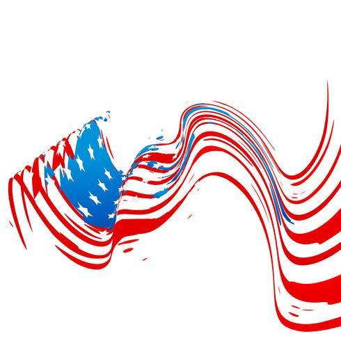 Design der amerikanischen Flagge der Wellenart vektor