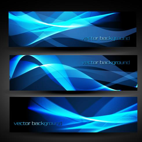 vector blue abstract banner set 2