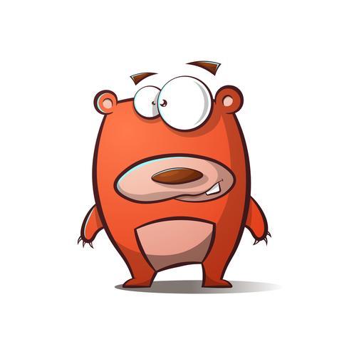 Cute happy cartoon bear illustration.