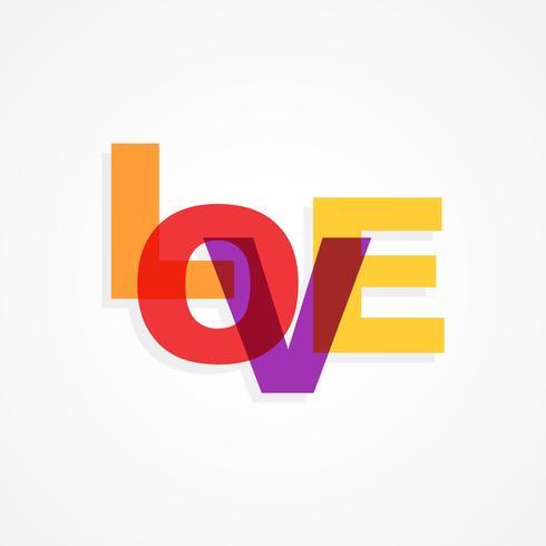 Texto colorido del amor aislado en fondo blanco