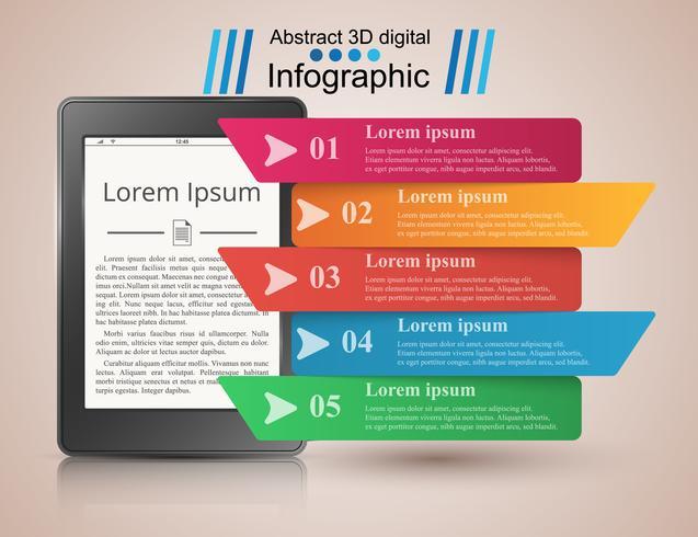 Aparato digital, libro electrónico, lector de libros. Infografía de negocios.