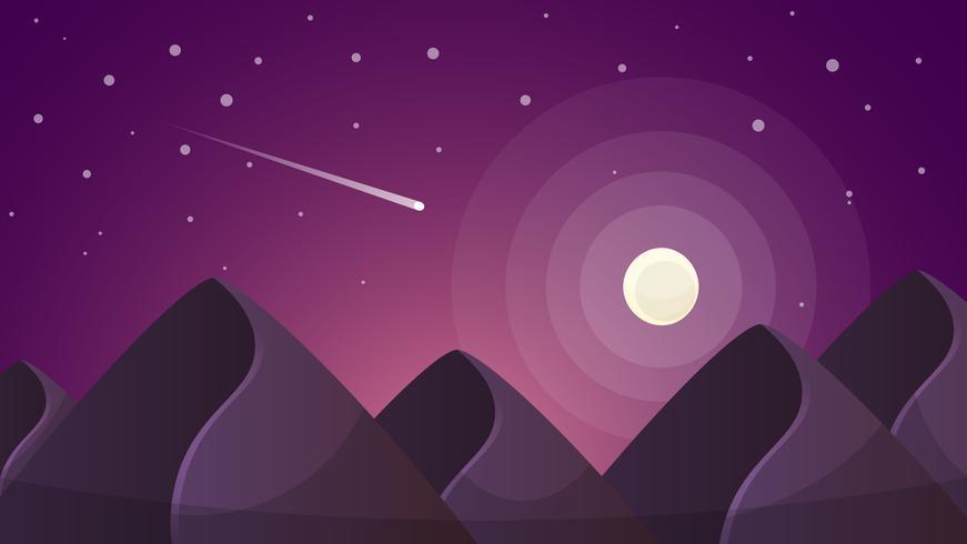 Paisaje nocturno de dibujos animados. Cometa, luna, montañas ilustración. vector