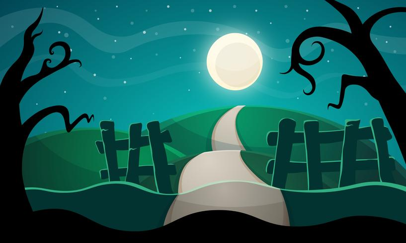 Halloween illustration. Star, road, tree. vector